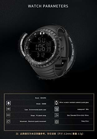 新品ブラック Senorsスポーツ腕時計 メンズデジタル時計電子LEDファッションアウトドアカジュアル防水腕時計C736_画像7