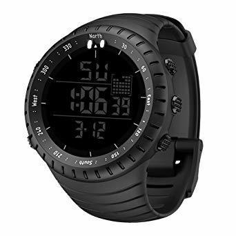 新品ブラック Senorsスポーツ腕時計 メンズデジタル時計電子LEDファッションアウトドアカジュアル防水腕時計C736_画像2