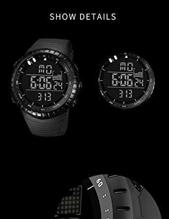 新品ブラック Senorsスポーツ腕時計 メンズデジタル時計電子LEDファッションアウトドアカジュアル防水腕時計C736_画像6