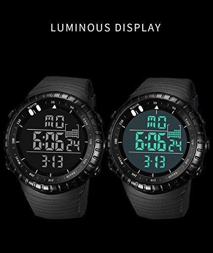 新品ブラック Senorsスポーツ腕時計 メンズデジタル時計電子LEDファッションアウトドアカジュアル防水腕時計C736_画像10