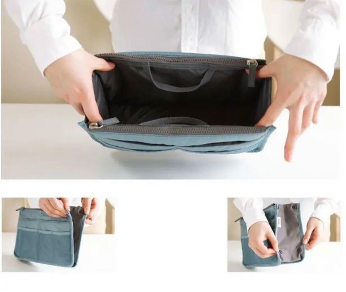 新品*バッグインバッグ  スカイブルー*収納 ポーチ バッグ 中身 整理 小物収納 インナーバッグ 化粧ポーチ