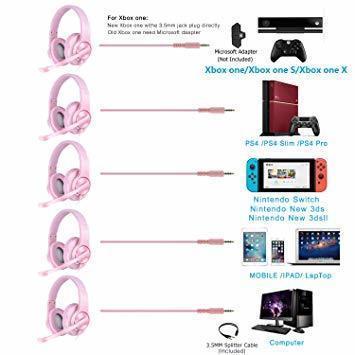 新品ピンク BlueFire PS4ゲーミング ヘッドセット 高音質 重低音ヘッドフォン 臨場感満ち 高集音性マXCLI_画像3