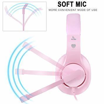 新品ピンク BlueFire PS4ゲーミング ヘッドセット 高音質 重低音ヘッドフォン 臨場感満ち 高集音性マXCLI_画像5