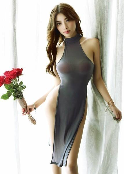 即決 セクシー ロングドレス グレー 極薄 シースルー ハイスリット ランジェリー コスプレ 衣装 チャイナドレス 新品 ★dT n034_画像7