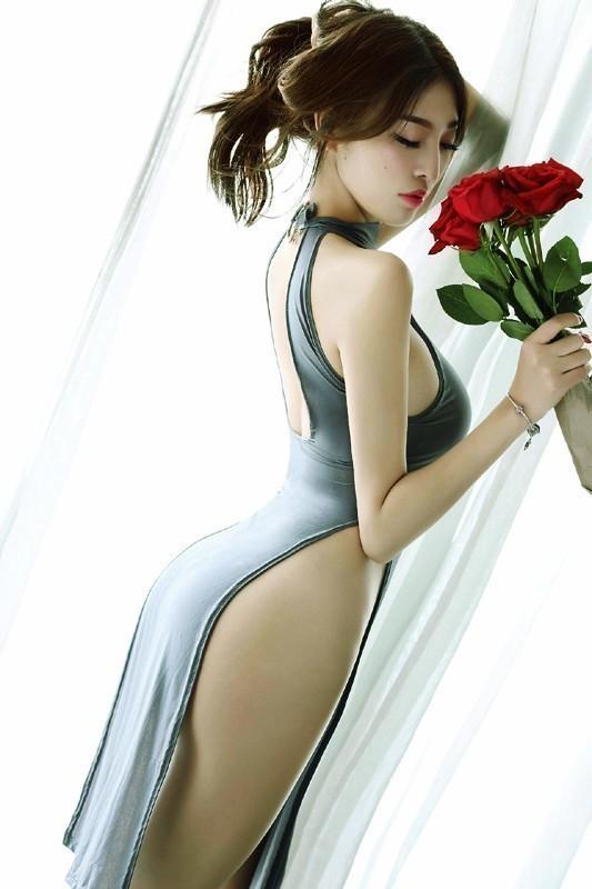 即決 セクシー ロングドレス グレー 極薄 シースルー ハイスリット ランジェリー コスプレ 衣装 チャイナドレス 新品 ★dT n034_画像4
