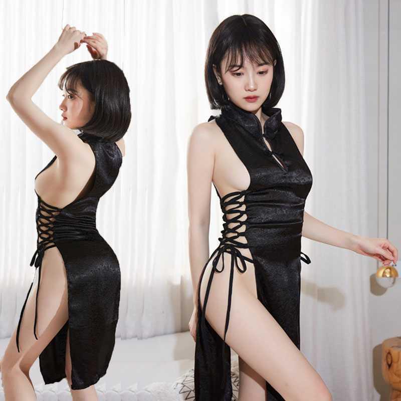 セクシー チャイナドレス コスチューム ハロウィン コスプレ衣装 X-26bk_画像1