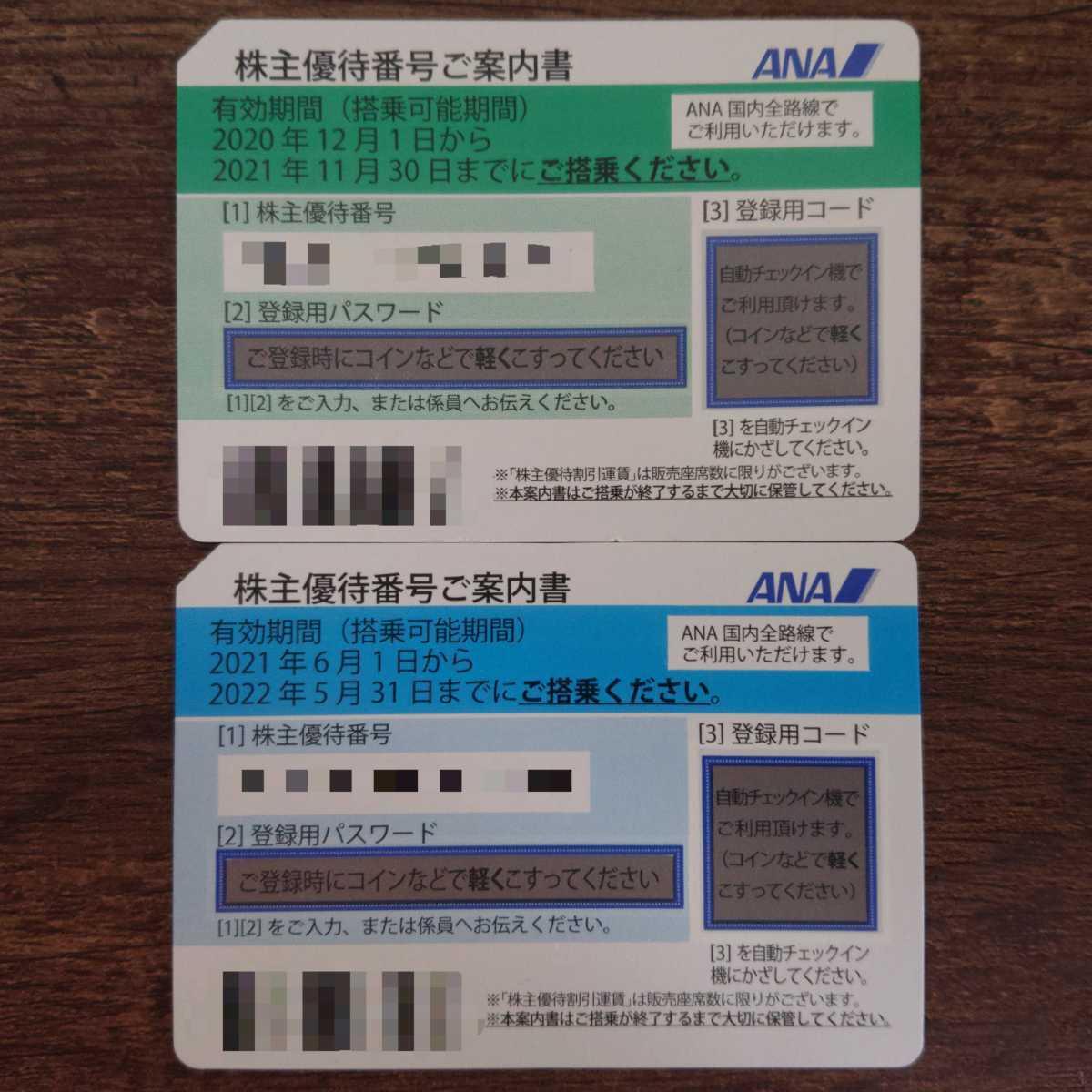 ANA 全日空 株主優待券 2枚 2022年5月31日まで延長 番号通知_画像1