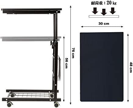 ブラック SIMFLAG サイドテーブル ソファ ベッドサイドテーブル ナイトテーブル コの字型デザイン 昇降式 キャスター付き_画像7