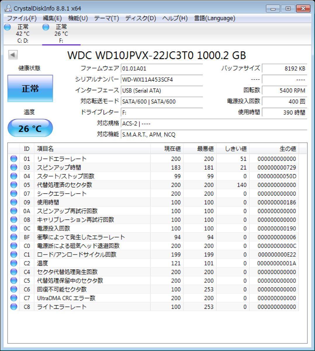 1 TB HDD USB3.0 外付 ポータブル ハードディスク 2.5 1000GB ケース新品 検査済 電源不要 バスパワー