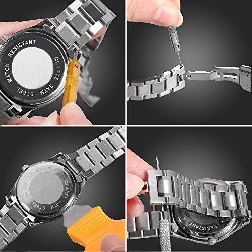 ブラック 腕時計 工具セット 時計修理ツール 電池交換 ベルト調整 ミニ精密ドライバー付き メンテナンス 116点セット 収納ケ_画像4