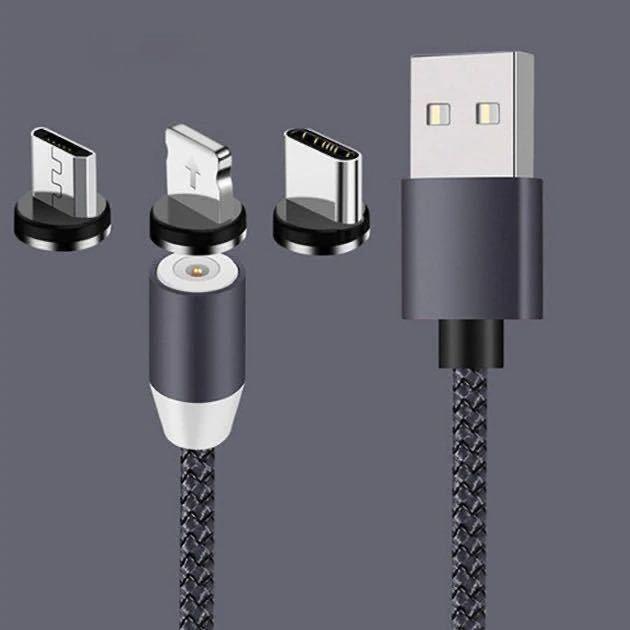 マグネット充電ケーブル1M*3本+端子*6(iPhone *2+Android *2+TYPE-C*2)急速充 磁石式 ケーブル