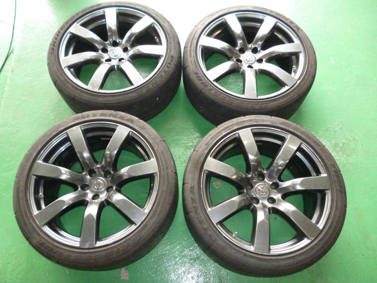 【中古】R35 GTR 日産純正 ホイール 20×10.5J 25 2本 20×9.5J 45 2本 1台分 タイヤ付き 255/35R18 285/35R18 POTENZA RE070R