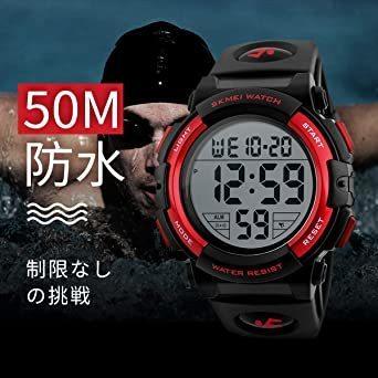 新品3-レッド 腕時計 メンズ デジタル スポーツ 50メートル防水 おしゃれ 多機能 LED表示 アウトドア 腕時1SSK_画像6