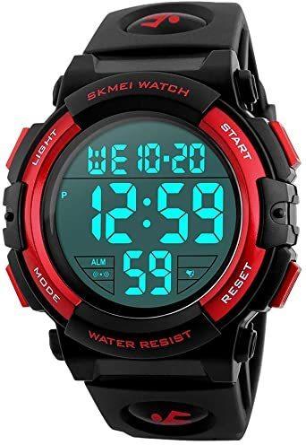 新品3-レッド 腕時計 メンズ デジタル スポーツ 50メートル防水 おしゃれ 多機能 LED表示 アウトドア 腕時1SSK_画像1