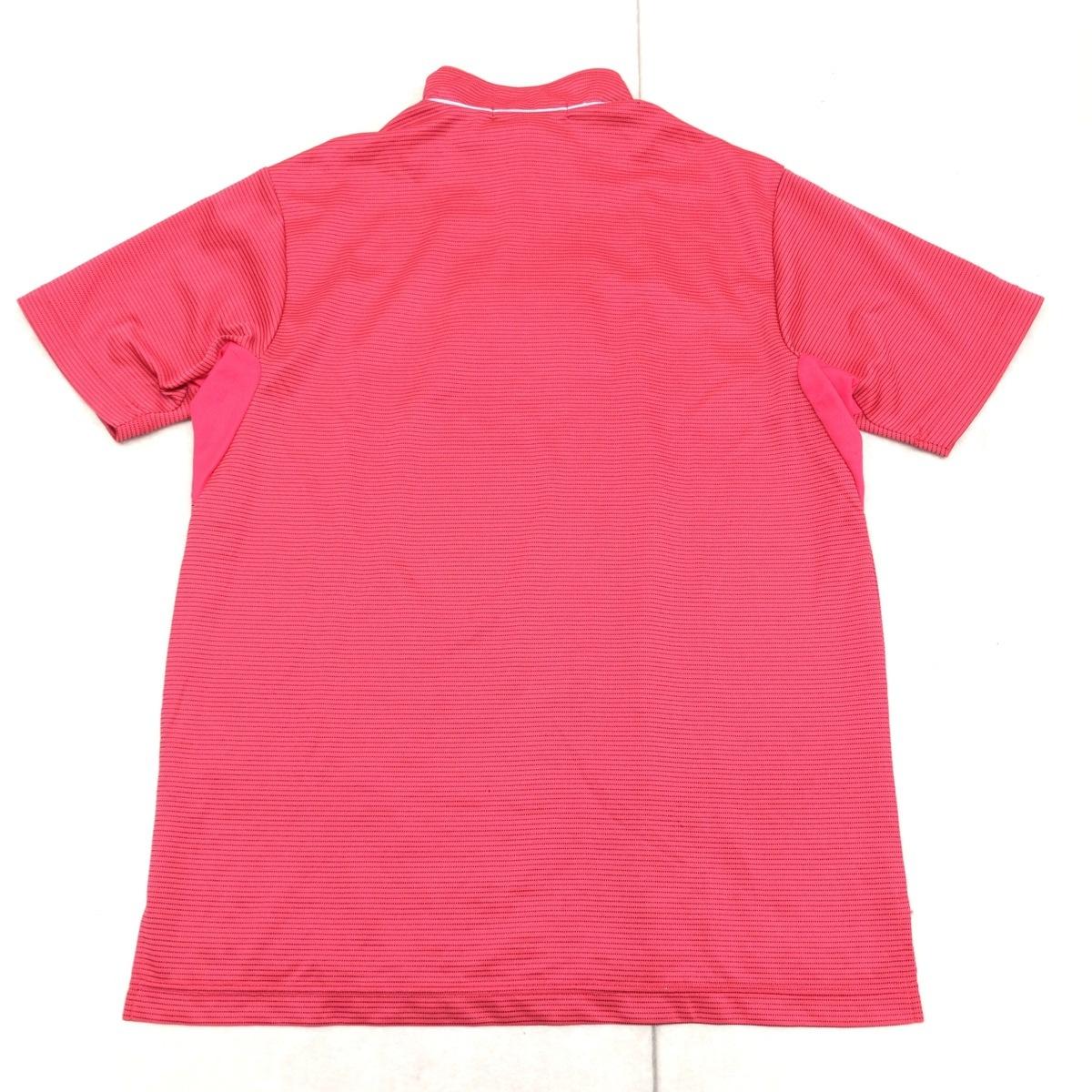 le coq sportif GOLF ルコックゴルフ 吸汗速乾 ロゴ刺繍 ハーフジップ ドライ ゴルフシャツ M ピンク メンズ 半袖 ボーダー 国内正規品_画像2