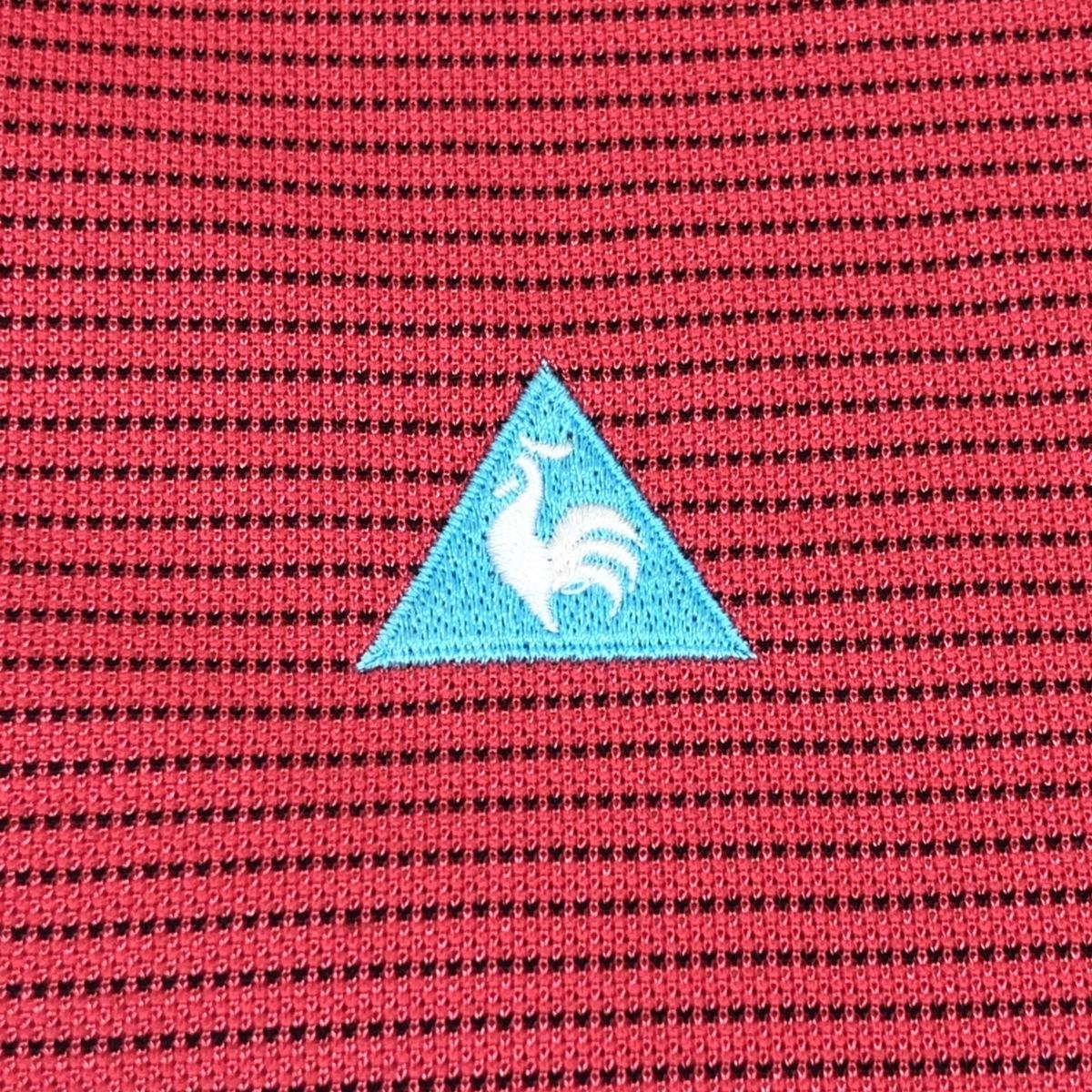 le coq sportif GOLF ルコックゴルフ 吸汗速乾 ロゴ刺繍 ハーフジップ ドライ ゴルフシャツ M ピンク メンズ 半袖 ボーダー 国内正規品_画像5