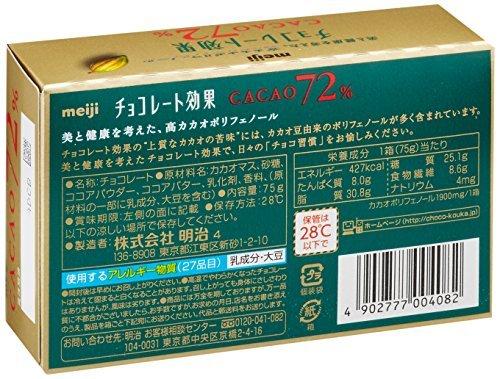 75g×5箱 明治 チョコレート効果カカオ72%BOX 75g×5箱_画像4