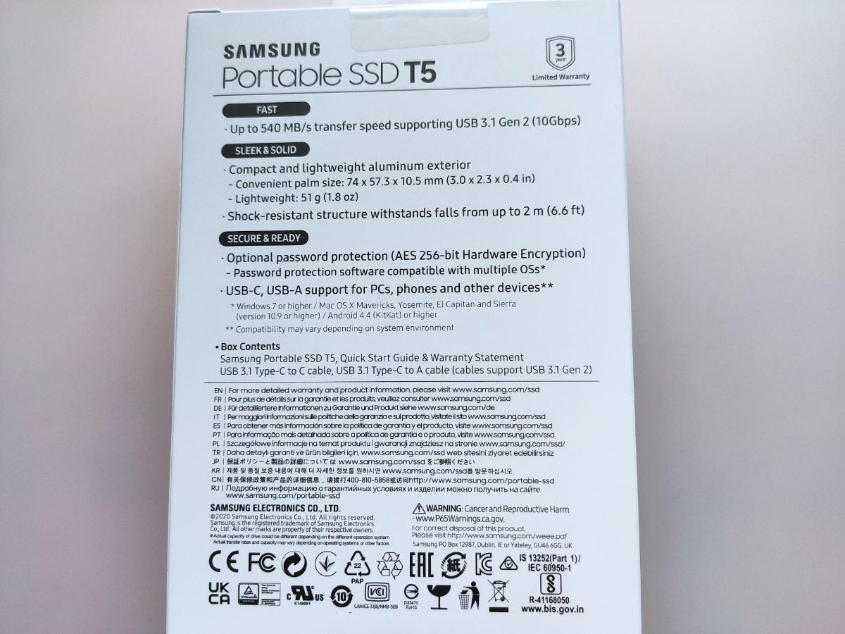 Samsung 外付けSSD T5 1TB MU-PA1T0B USB3.1 Gen2