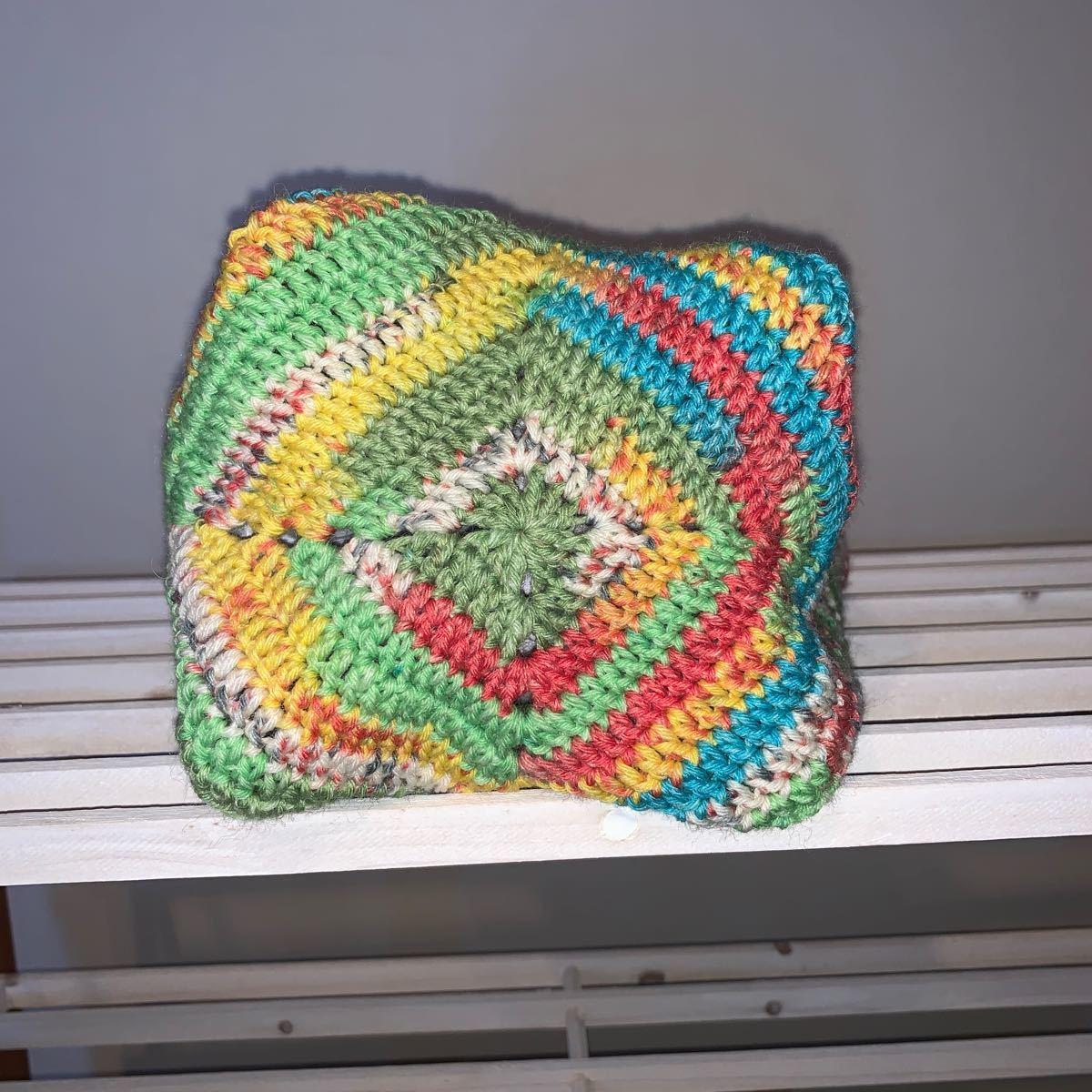 ハンドメイド  バック 編み物 エコバッグ ニット