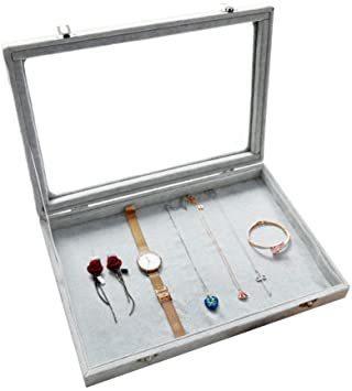 F ジュエリーケース アクセサリーボックス ピアス イヤリングケース 耳飾り収納/ネックレス収納/指輪収納 ケース ベルベット大_画像1