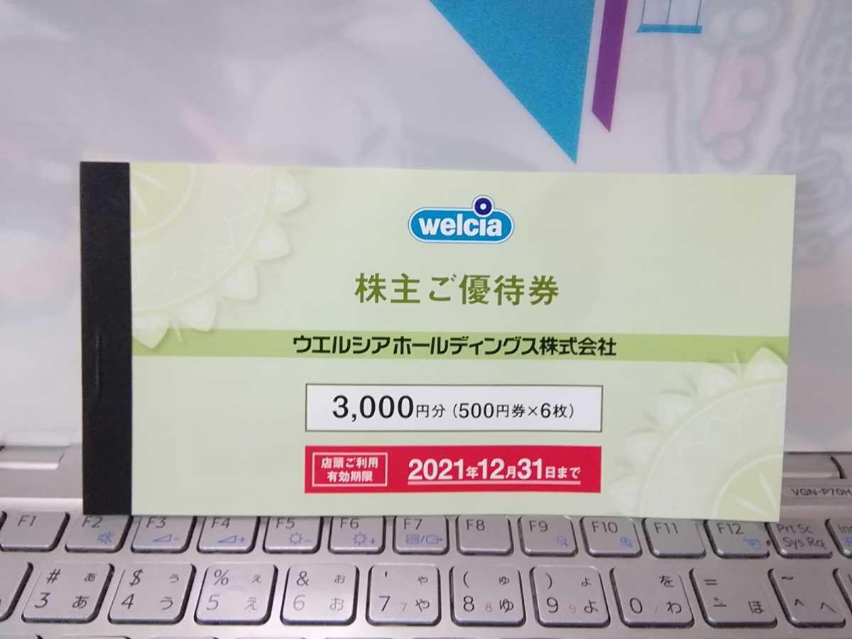 ウエルシアホールディングス株主優待券3000円分(500円券x6枚)_画像1