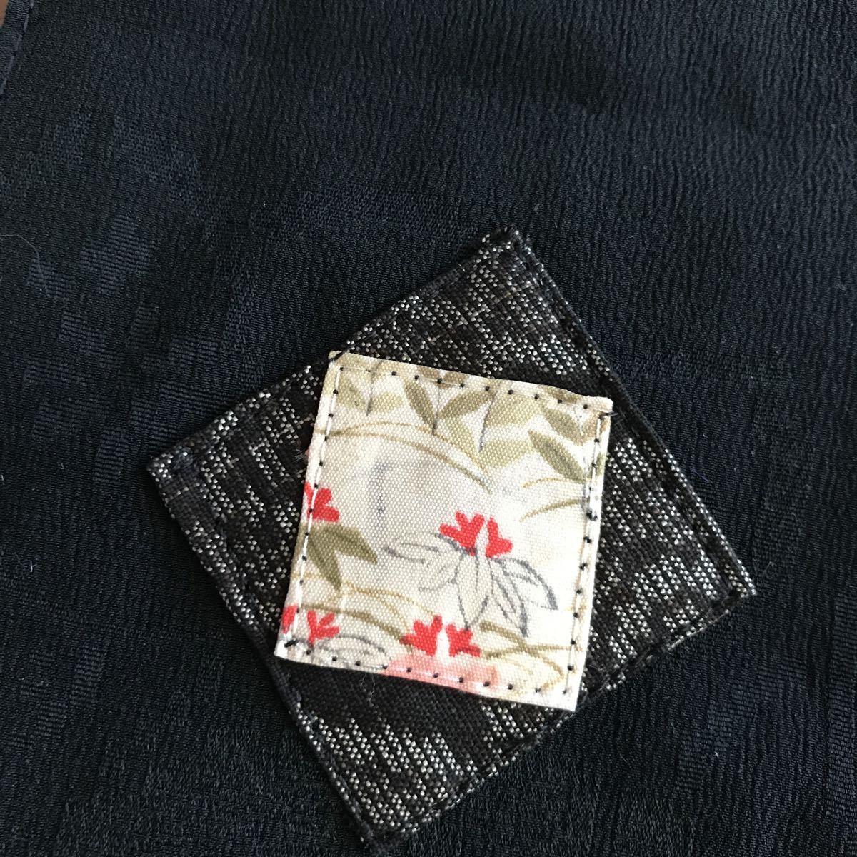 古布のミニタペストリー 古布 着物リメイク タペストリー 絹 パッチワーク 黒 アンティーク 69×10cm ハンドメイド