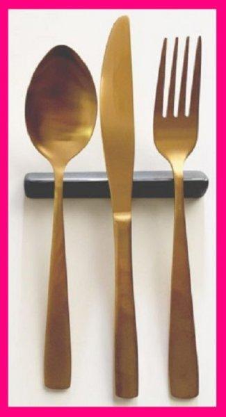 【送料無料:スプーン/フォーク2本】★ゴールド:スプーン:15cm・フォーク:16cm:ファミリーに:カトラリーセット