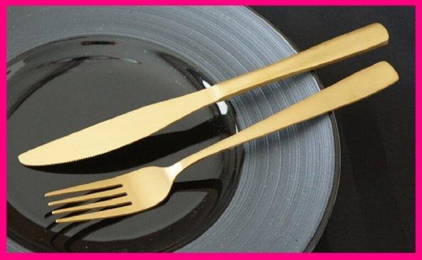 【送料無料:フォーク/ナイフ:2本】★ゴールド:フォーク:19cm ・ナイフ:21cm:ファミリーに:カトラリーセット