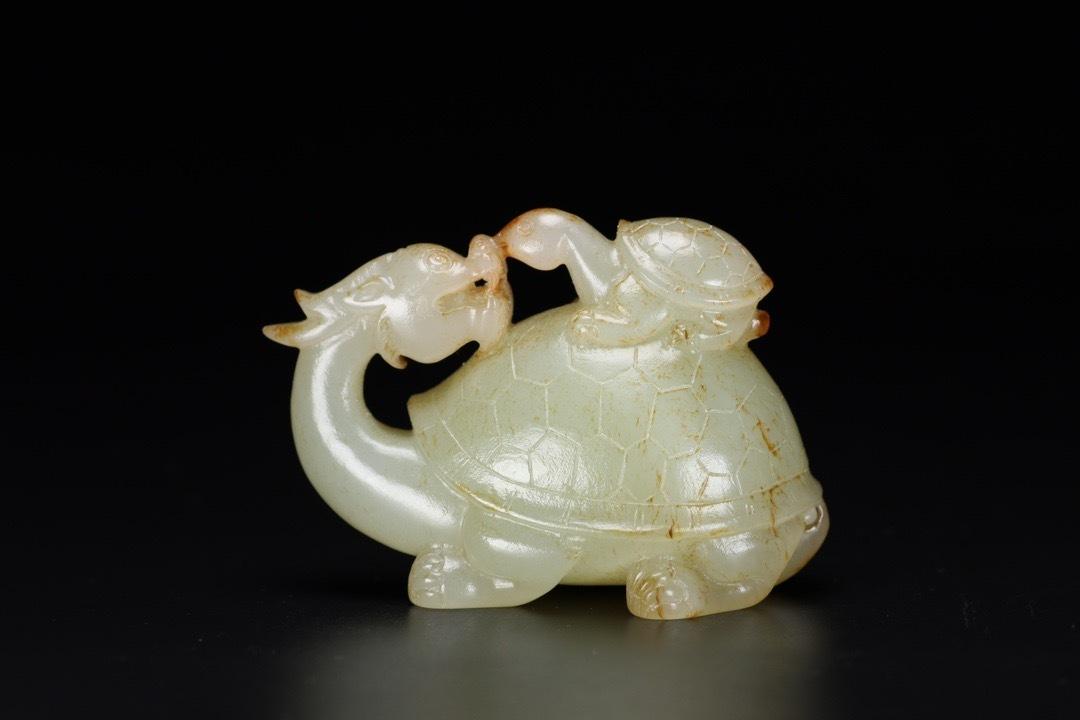 ◆鶴鳴堂◆中国・清時代 和田玉 龍亀 極細工 古置物 古擺件 中国古美術 古美味 時代物 古董品
