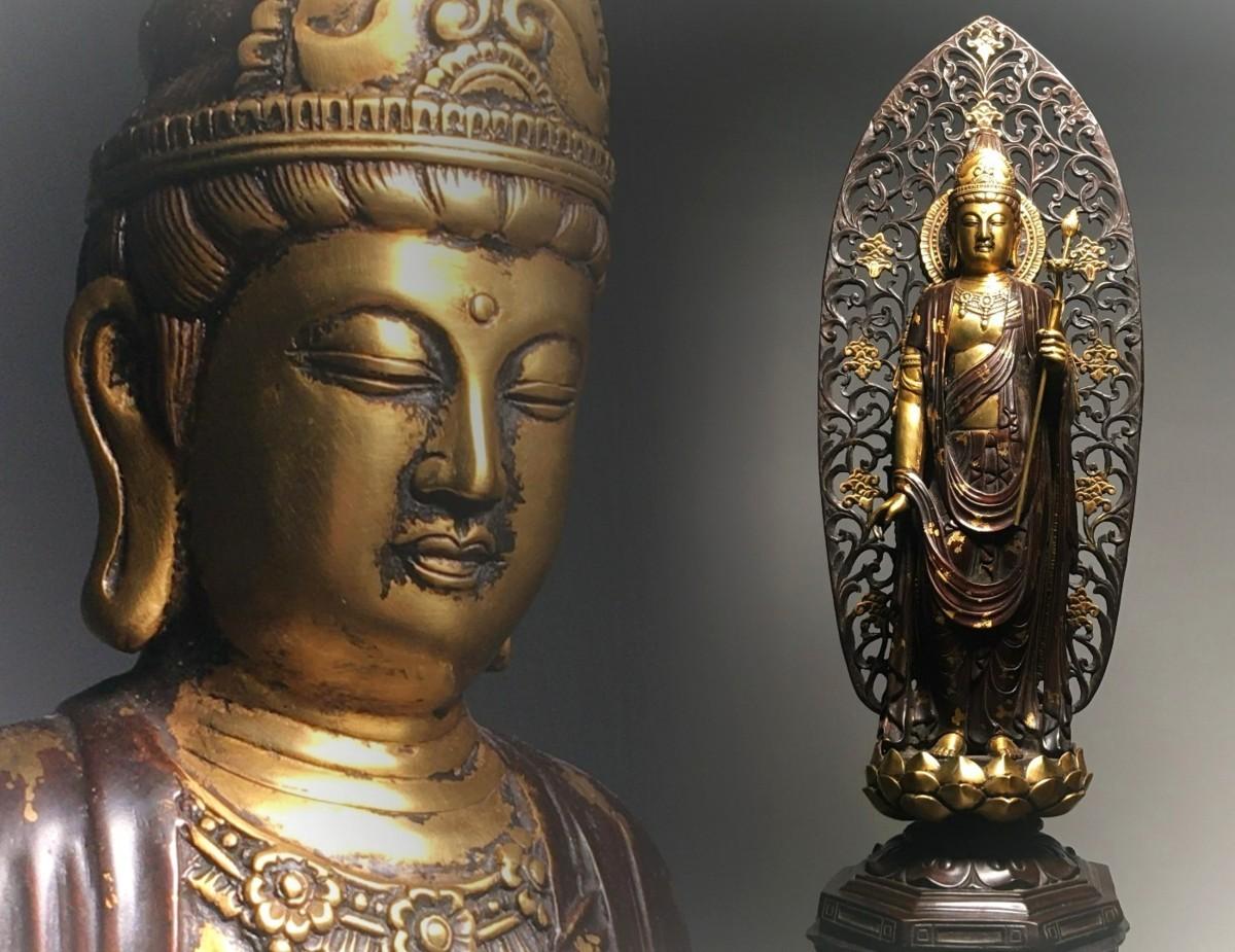 ◆鶴鳴堂◆中国・銅金彫 持蓮観音菩薩立像 清時代 極細工 古置物 古擺件 中国古美術 古美味 時代物 古董品