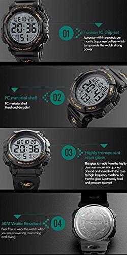 ブルー Timever(タイムエバー)デジタル腕時計 メンズ 防水腕時計 led watch スポーツウォッチ アラーム ストッ_画像7