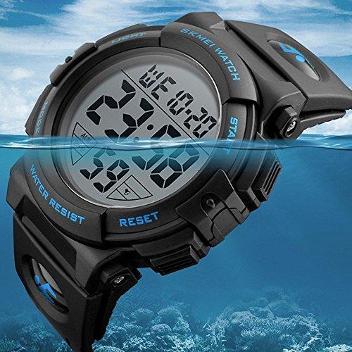 ブルー Timever(タイムエバー)デジタル腕時計 メンズ 防水腕時計 led watch スポーツウォッチ アラーム ストッ_画像2