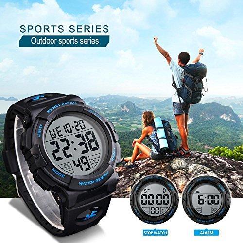 ブルー Timever(タイムエバー)デジタル腕時計 メンズ 防水腕時計 led watch スポーツウォッチ アラーム ストッ_画像3