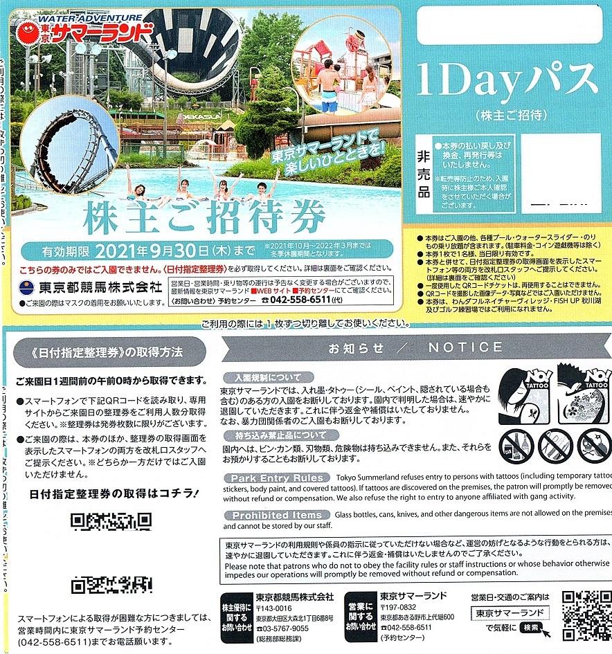 東京サマーランド フリーパス引換券 1枚(単位)~4枚迄 2021年9月末迄有効 東京都競馬 株主優待券_画像1