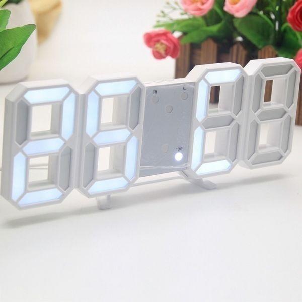 【1円~】インテリア 壁掛け時計 デジタル ウォールクロック LED 時計 目覚まし時計 常夜灯 ホワイト 選べる6色_画像3