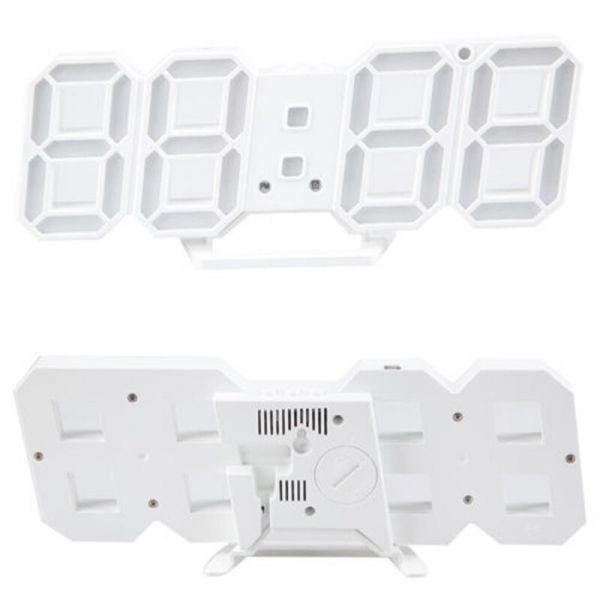 【1円~】インテリア 壁掛け時計 デジタル ウォールクロック LED 時計 目覚まし時計 常夜灯 ホワイト 選べる6色_画像2