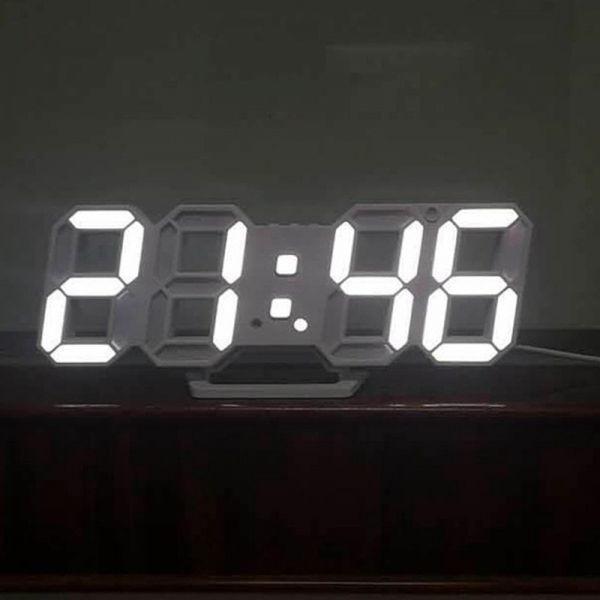 【1円~】インテリア 壁掛け時計 デジタル ウォールクロック LED 時計 目覚まし時計 常夜灯 ホワイト 選べる6色_画像4