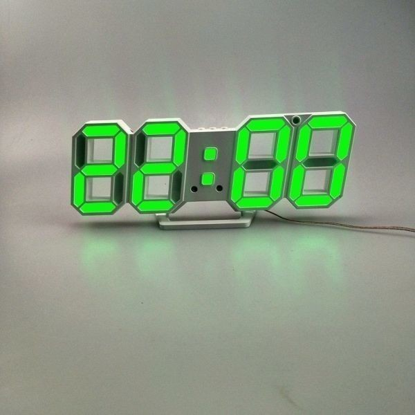 【1円~】インテリア 壁掛け時計 デジタル ウォールクロック LED 時計 目覚まし時計 常夜灯 ホワイト 選べる6色_画像7