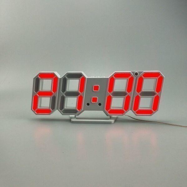 【1円~】インテリア 壁掛け時計 デジタル ウォールクロック LED 時計 目覚まし時計 常夜灯 ホワイト 選べる6色_画像8