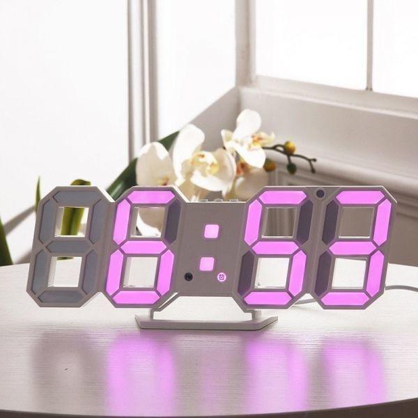 【1円~】インテリア 壁掛け時計 デジタル ウォールクロック LED 時計 目覚まし時計 常夜灯 ホワイト 選べる6色_画像9