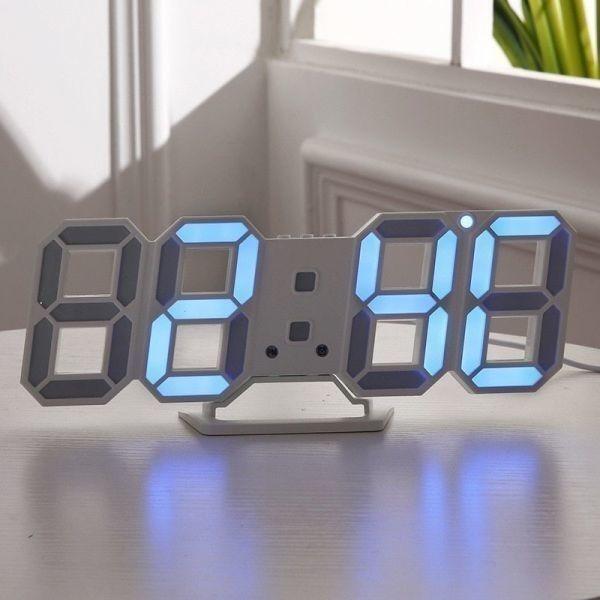 【1円~】インテリア 壁掛け時計 デジタル ウォールクロック LED 時計 目覚まし時計 常夜灯 ホワイト 選べる6色_画像10
