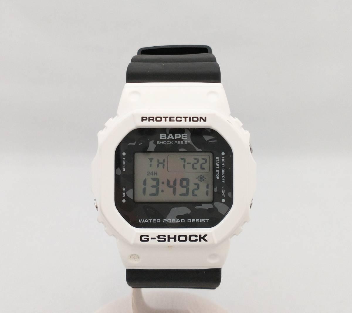 【箱付】CASIO カシオ G-SHOCK BAPEコラボモデル DW-5600VT 1000本限定 0449/1000 クォーツ デジタル ラバー 白×黒 腕時計