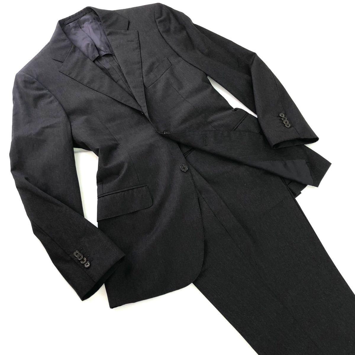 Ng29《美品》BEAMS F ビームスエフ シングルスーツ セットアップ 95 S~Mサイズ相当 チャコールグレー メンズ 男性用 紳士服 日本製