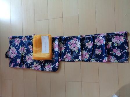 マザウェイズ フラワー 浴衣 紺 帯 150 _画像2