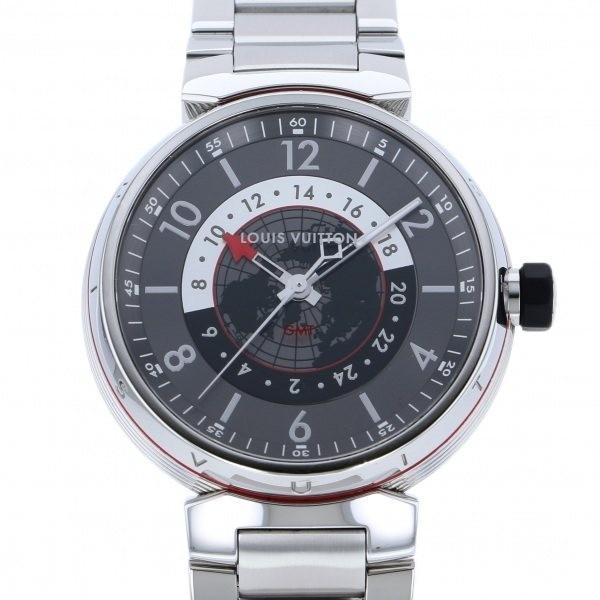 ルイ・ヴィトン LOUIS VUITTON タンブール グラフィット GMT Q1D30 グレー文字盤 中古 腕時計 メンズ_画像1