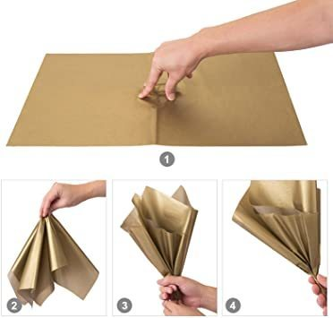 新品ゴールド NALER クリスマス ラッピング ペーパー ゴールド ギフト 包装紙 38x50cm 薄葉紙 約60FXCS_画像4