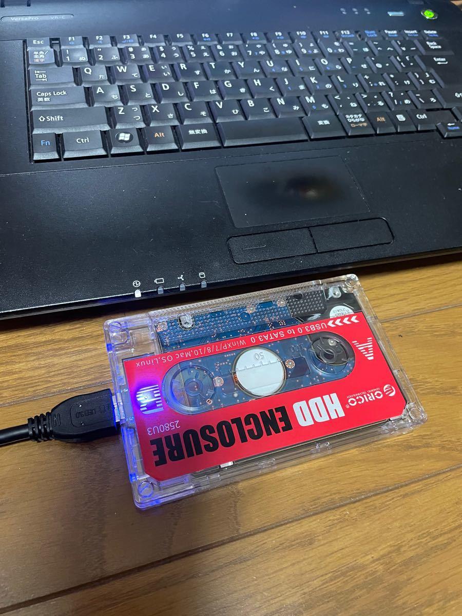 外付けUSB3.0ポータブルHDD320GBカセットテープ型