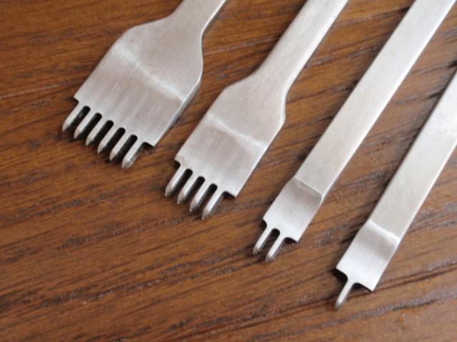 菱目打ち 3mm ピッチ 4本セット(1, 2, 4, 6本目) 革 穴あけ レザークラフト工具