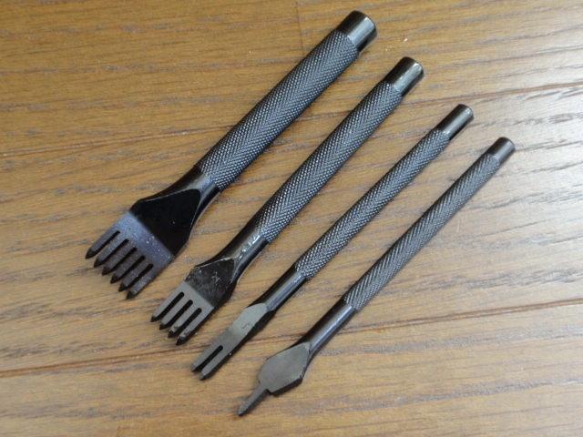 菱目打ち 4本セット(1, 2, 4, 6本目) レザークラフト 工具 黒色 (3mm)