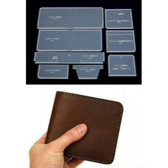 二つ折り 財布 透明 アクリル型 レザークラフト 型紙